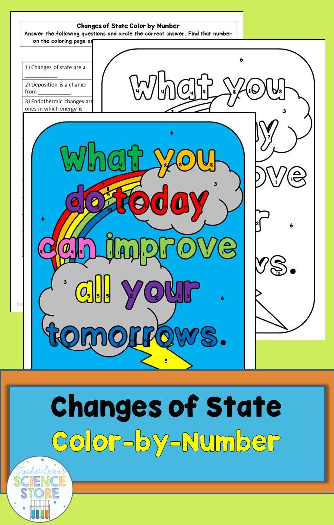 Changes of State- Color-by-Number | Number worksheets, Multiple ...