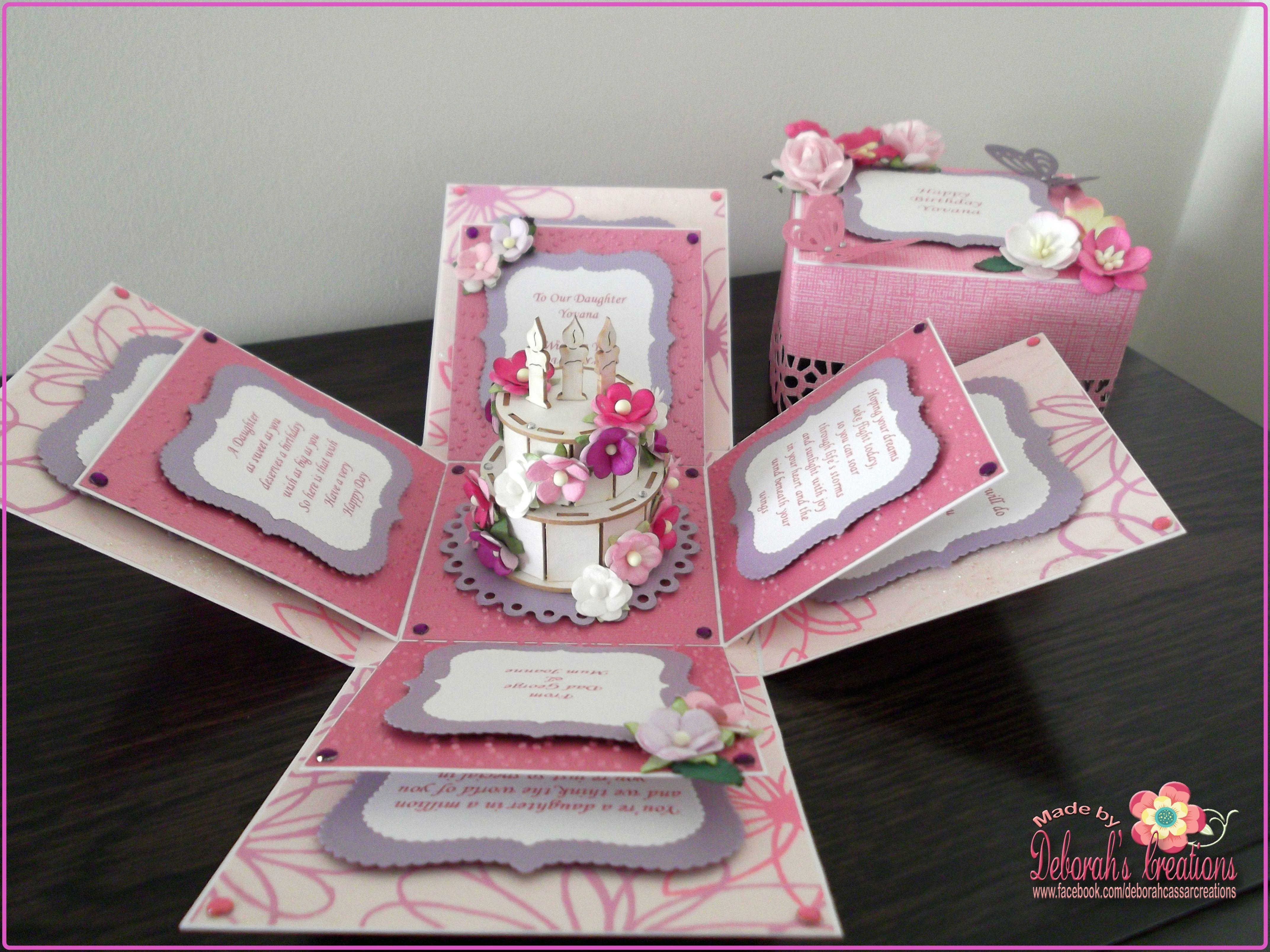 Female Birthday Cake Flower Theme Exploding Box Card Flipit