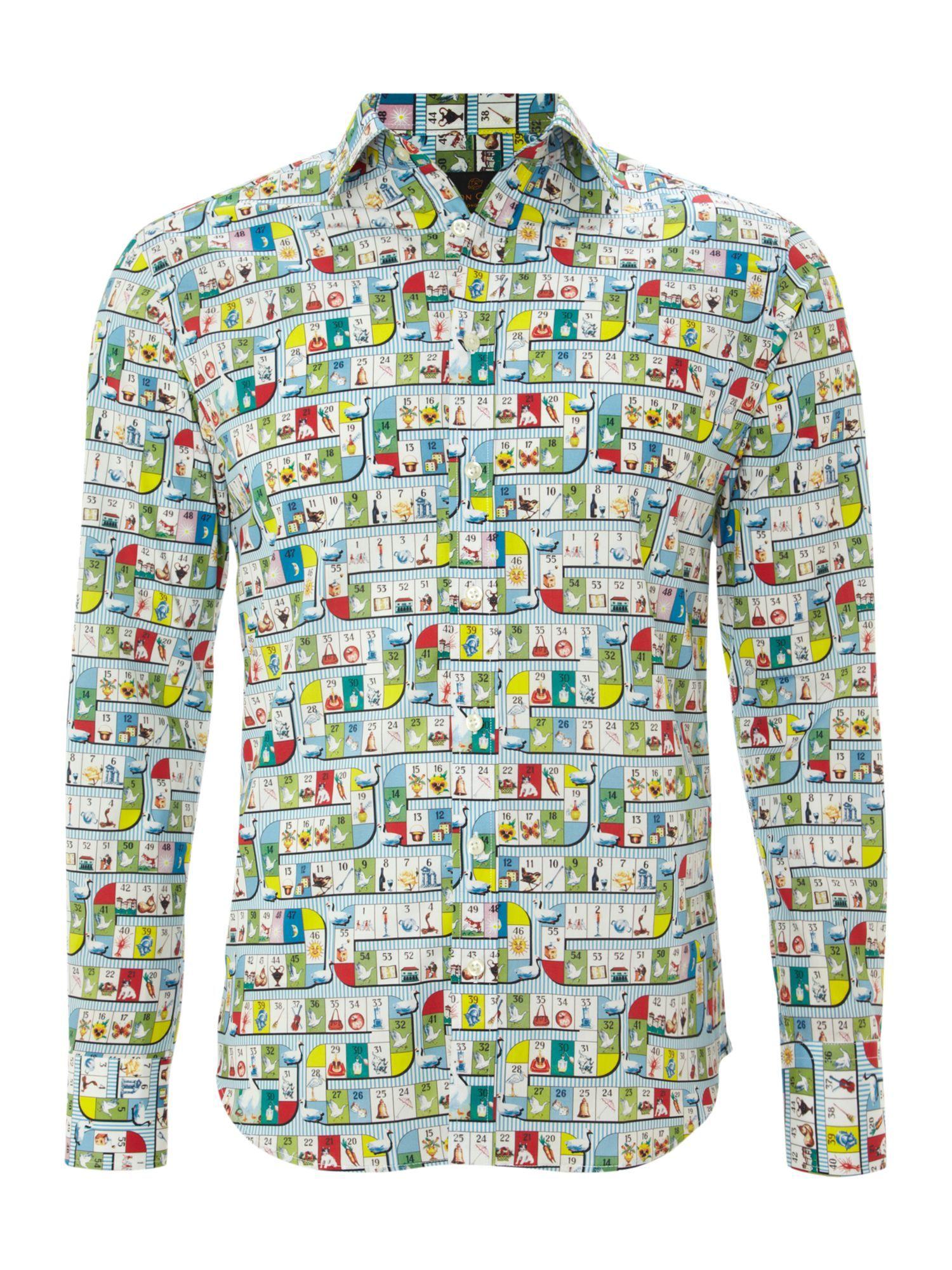 Simon Carter Game board print classic fit shirt - Shirts - Clothing - Men