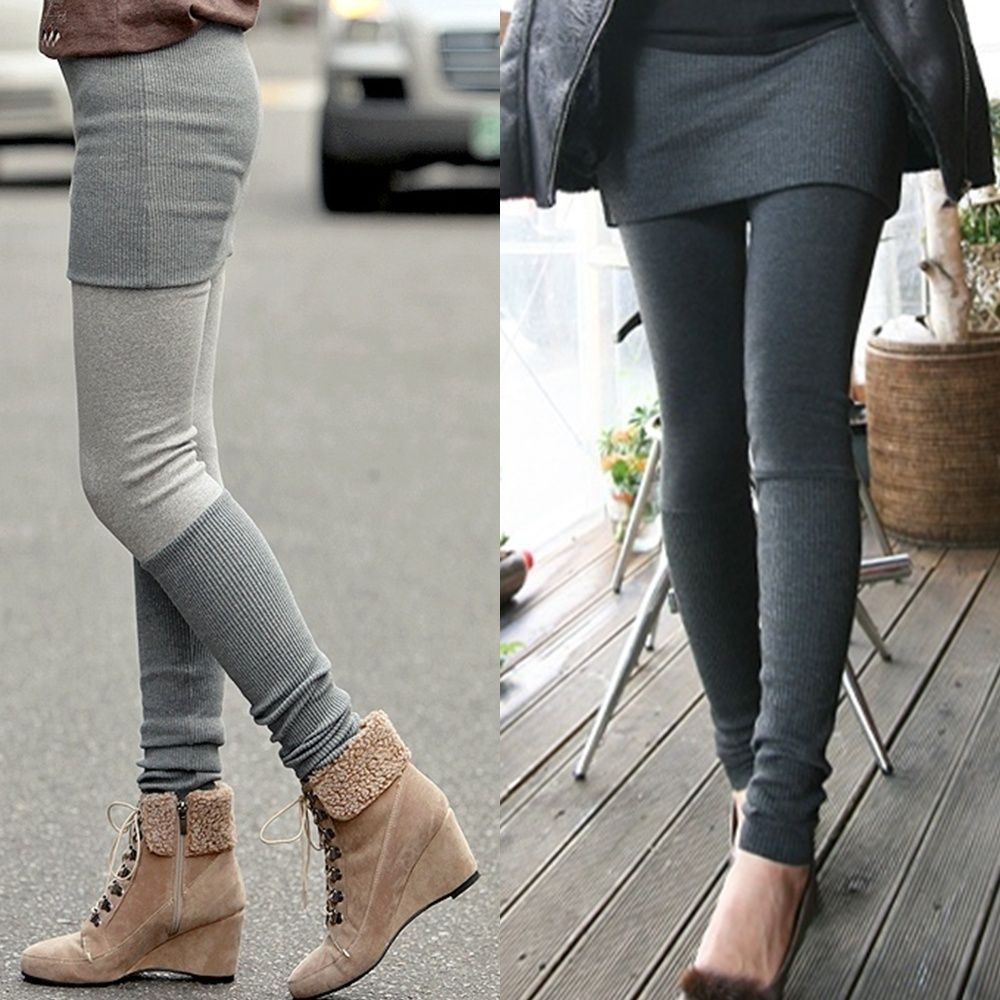 [Hi-Korean-Fashion]Knitted Mini Skirt Leggings Womens Tights Leg Warmers  Pants