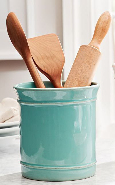 Turquoise Cambria Utensil Crock Aqua Kitchen Tiffany Blue Decor