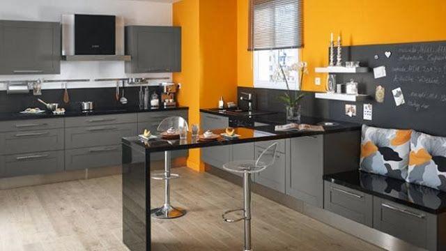 cuisine gris anthracite et mur orange en cette journe dhalloween dco