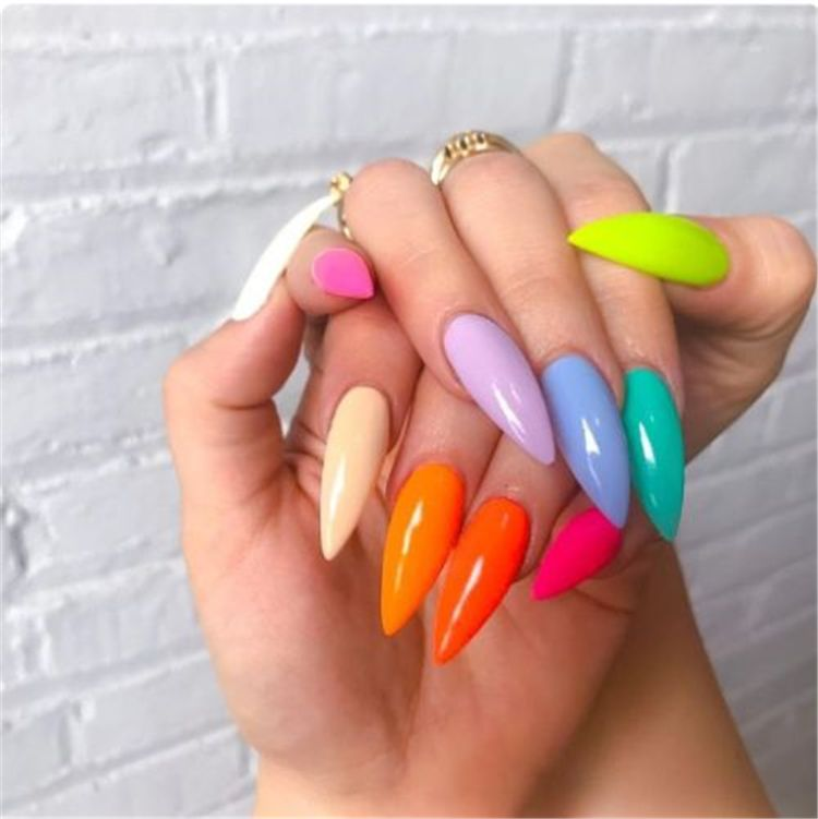 Stunning Rainbow Or Multicolored Nail Designs And Ideas For You In Summer Summer Nails Rainbow Nails Multico Stiletto Nails Designs Rainbow Nails Neon Nails