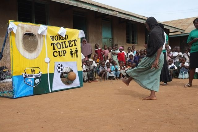 World Toilet Cup: Kicking the poo into the loo. (Uganda)