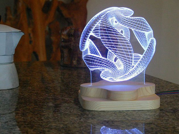Beautiful 3d Illusion Light Sculptures Light Sculpture 3d Illusions 3d Illusion Lamp