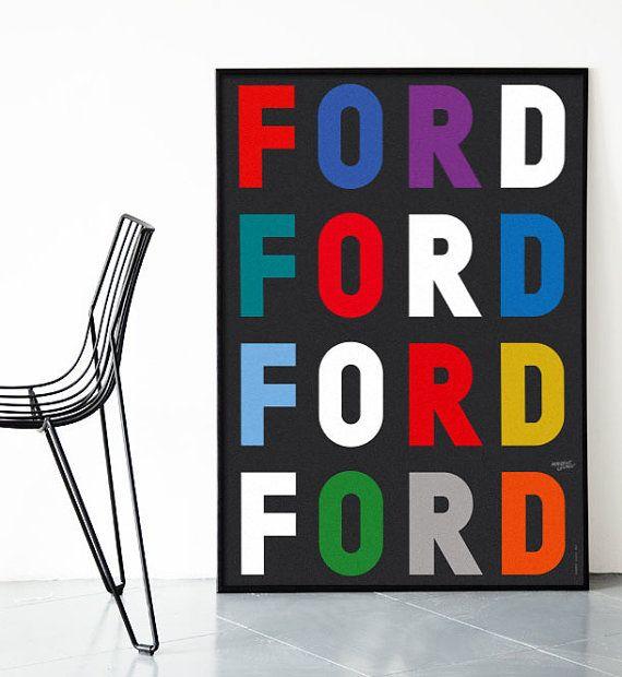 Mid century modern ford herbert leupin poster print danish scandinavian vitra herman miller eames vintage typography → free global shipping