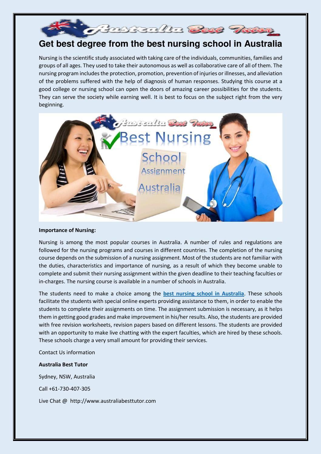 Get best degree from the best nursing school in australia
