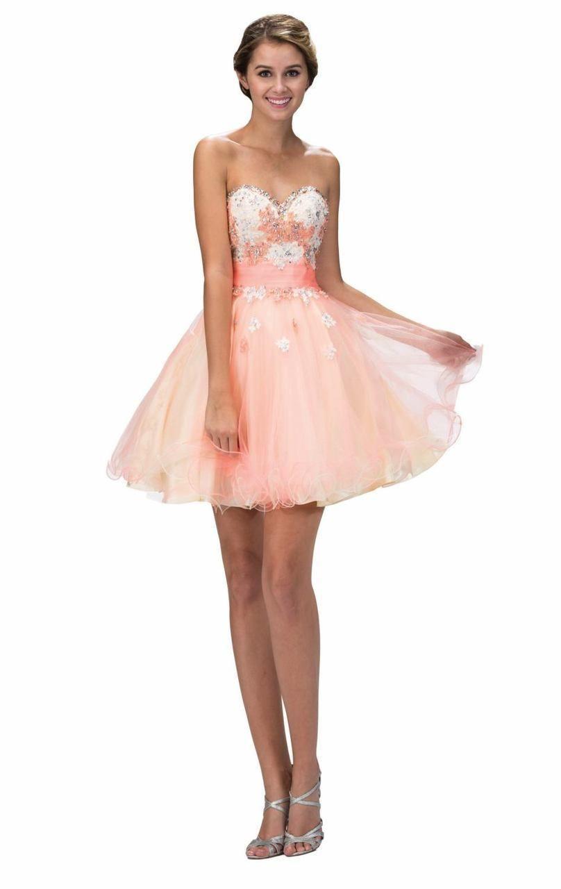 Elizabeth K Gs2131 Strapless Floral Cocktail Dress Orange Homecoming Dresses Floral Cocktail Dress Sweet Sixteen Dresses [ 1280 x 808 Pixel ]