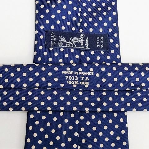 dd2f8bd56fea Authentic Pre-Owned Hermes Silk Tie 7013 TA White Polka Dots on Navy  Background