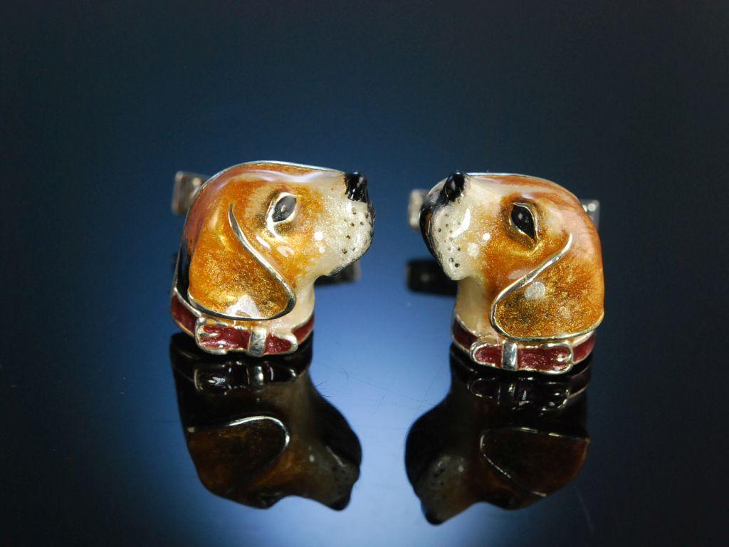 Lovely Enamel Beagle Cufflinks! Manschettenknöpfe Hunde Kopf Beagle Silber Email Mailand um 2005