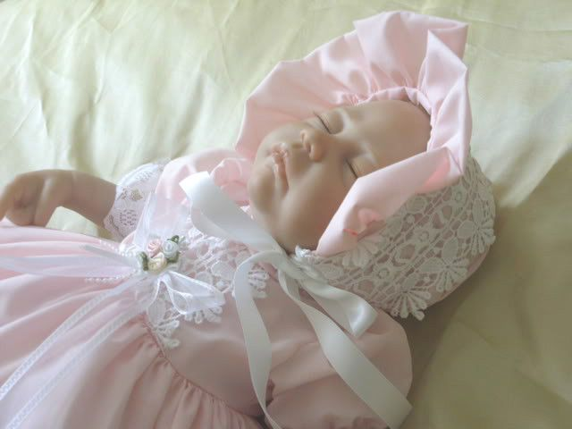 DREAM BABY SPANISH PINK TULLE DRESS BONNET NB 0-3 3-6 12-18 months  REBORN DOLLS