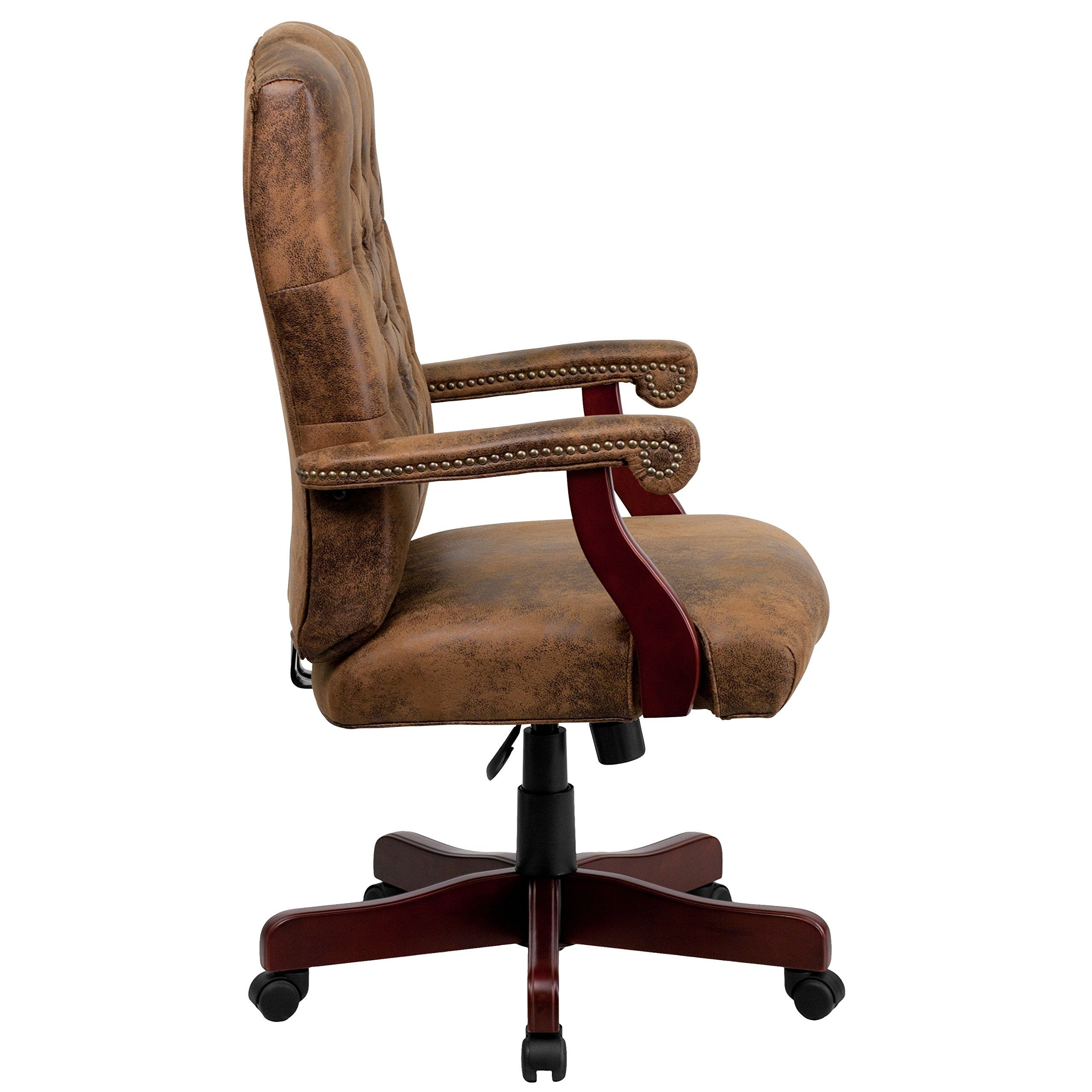 A Line Furniture Ultra Rustic Suede Button Tufted Mahogany Wood Adjustable Executive Swivel Office Chair With Images Office Chair Upholstered Office Chair Flash Furniture