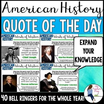 Photo of Social Studies American History Quote of the Day Bell Ringers