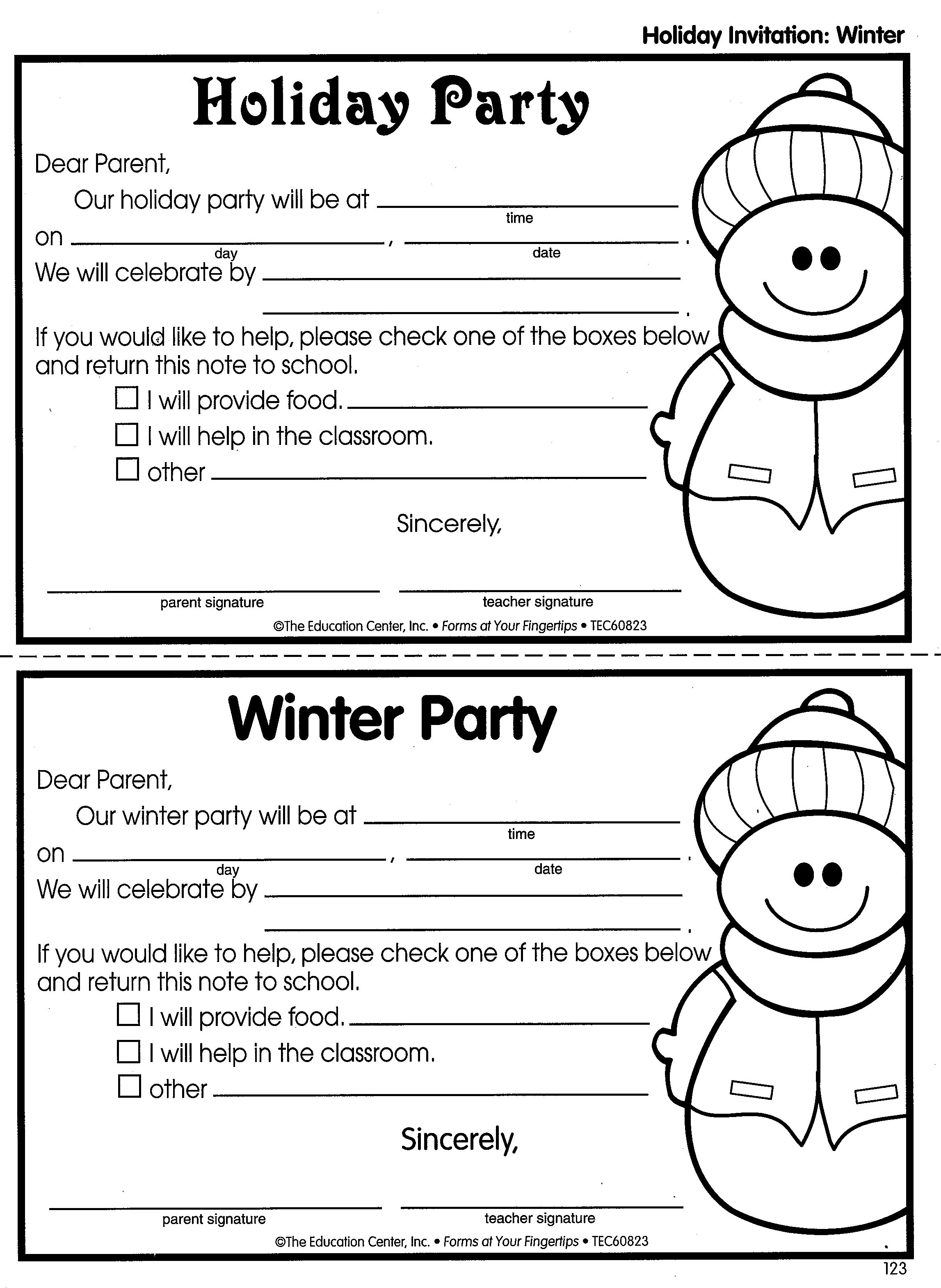Holiday Party, Winter Party classroom invitations (With
