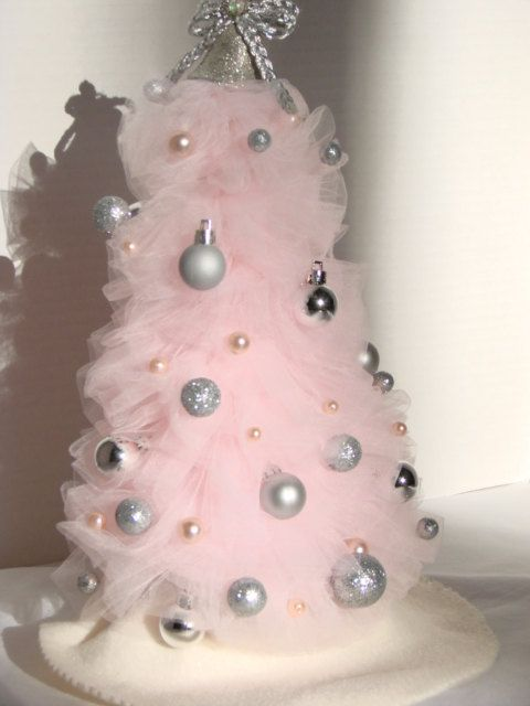 SALE Pink and Silver Tulle Christmas Tree Table Decoration. $15.00 ...
