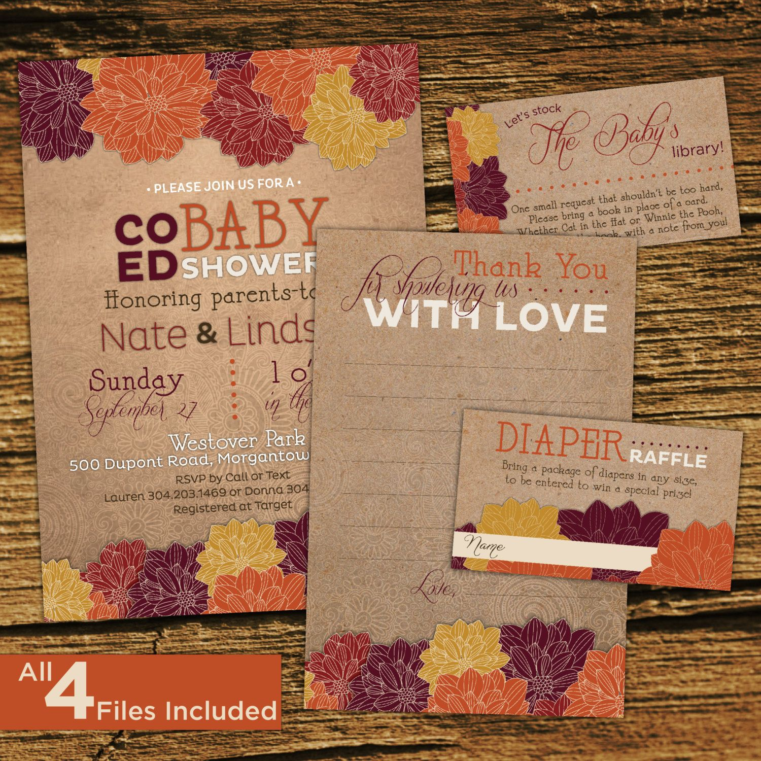 Fall baby shower invitation kit co ed couples shower gender baby fall baby shower invitation kit co ed couples shower gender filmwisefo Gallery