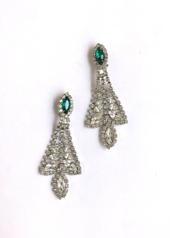 Vintage Rhinestone Clip On Earrings 1940s