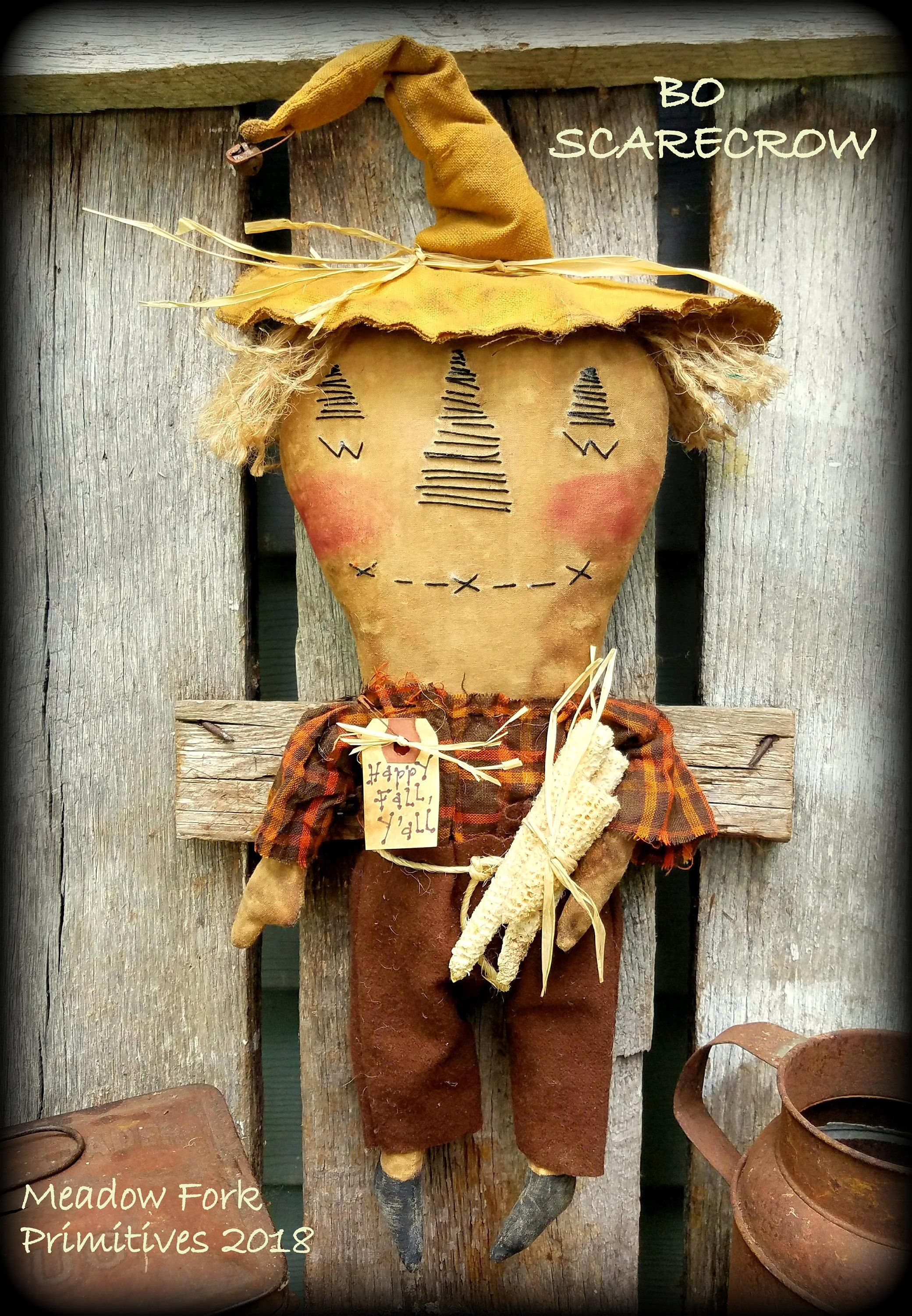 Handcrafted primitive folk art scarecrow dollbo scarecrowfall