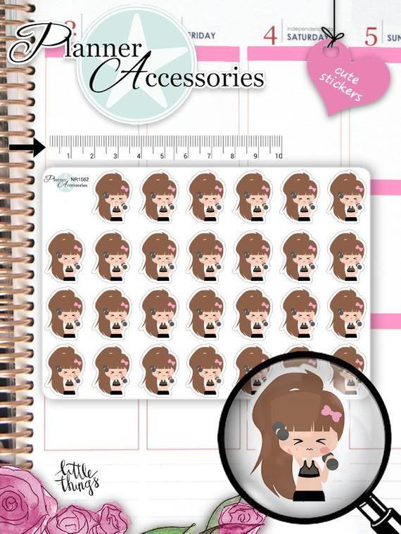 Girl Workout Planner Stickers 1582 by EmelysPlannerShop