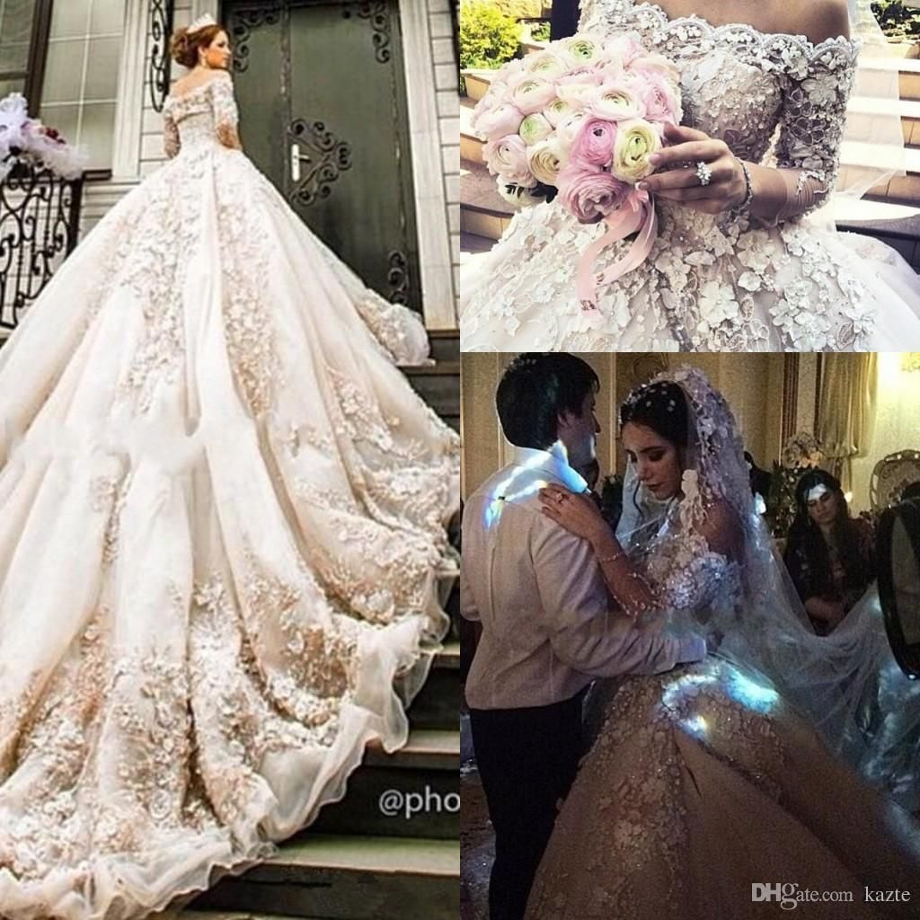 Romantic Romantic Ball Gown 2019 New Sexy Long Sleeve White Beaded Lace Tulle 2019 Dubai Saudi Muslim Arabic Wedding Dress Boho Sofuge Ve Wedding Dresses