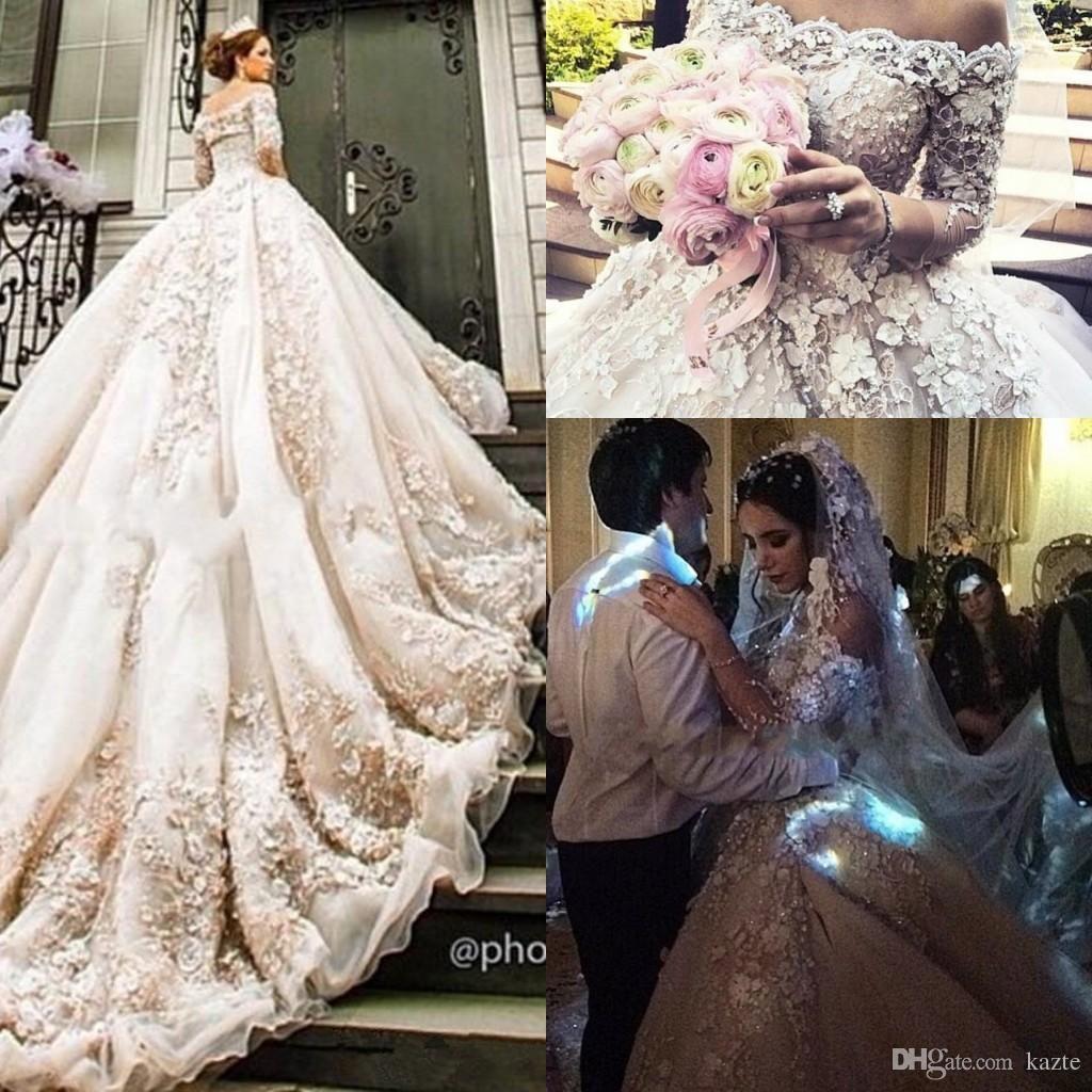 Michael cinco castle church wedding dresses with long sleeve