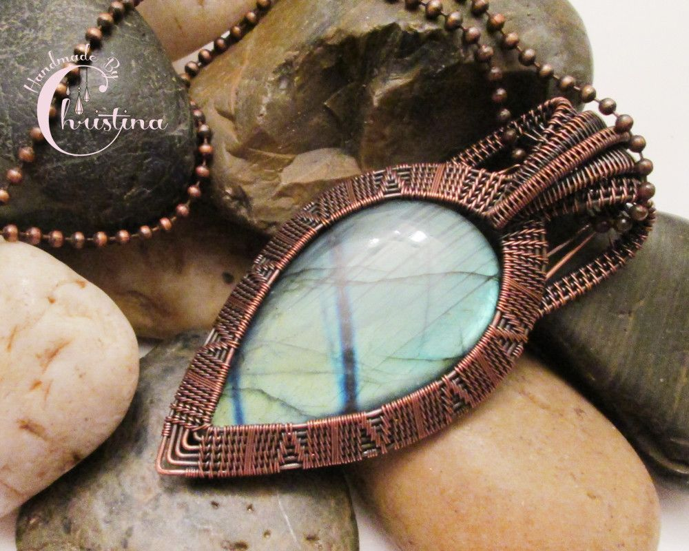 Oxidized Copper Wire Woven & Green & Blue Flash Labradorite Pendant ...