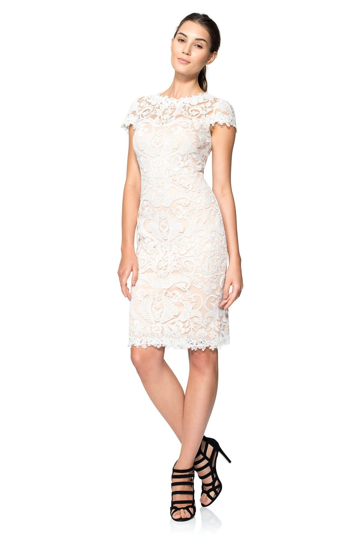 Petite dresses with sleeves for weddings  Corded Embroidery on Tulle Cap Sleeve Dress  PETITE  Tadashi Shoji