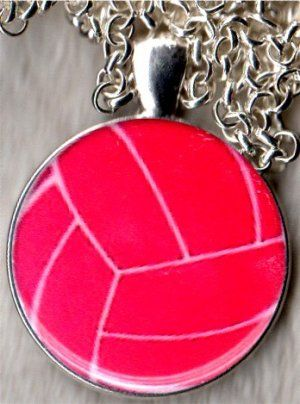 Pink Volleyball Round Pendant Necklace