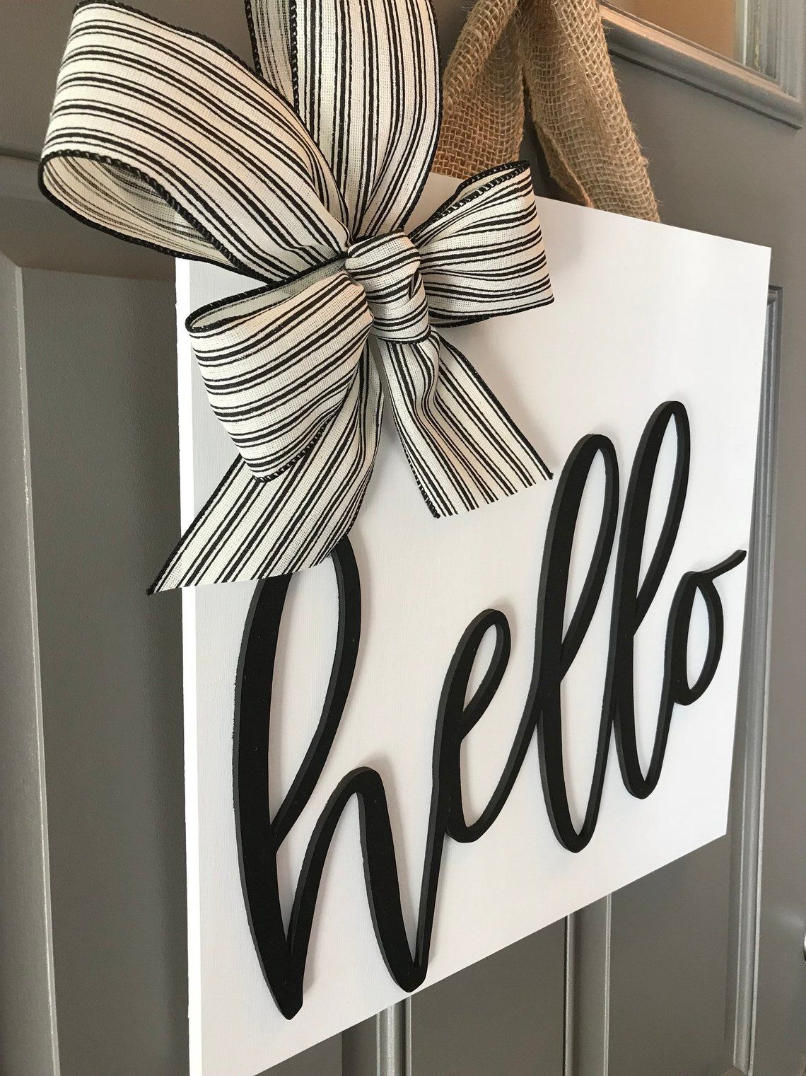 Front Door Sign Wood Door Hanger Door Decoration Front Door  Etsy