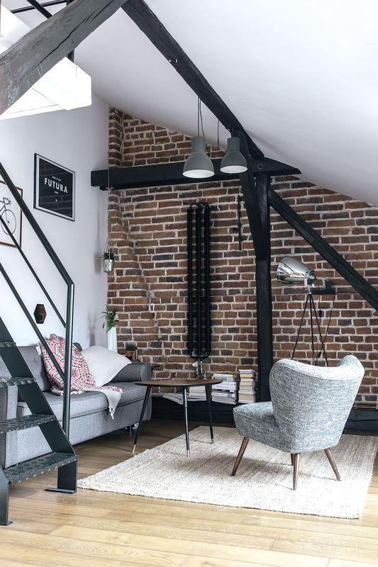 Salon Na Poddaszu Salon Styl Nowoczesny Aranzacja I Wystroj Wnetrz Home Living Room Loft Design Home Decor