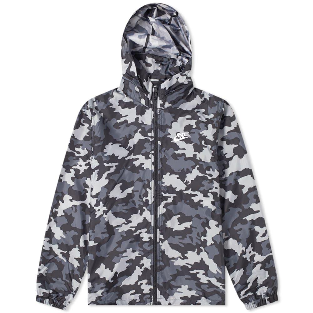 Nike camo hooded windbreaker in grey modesens