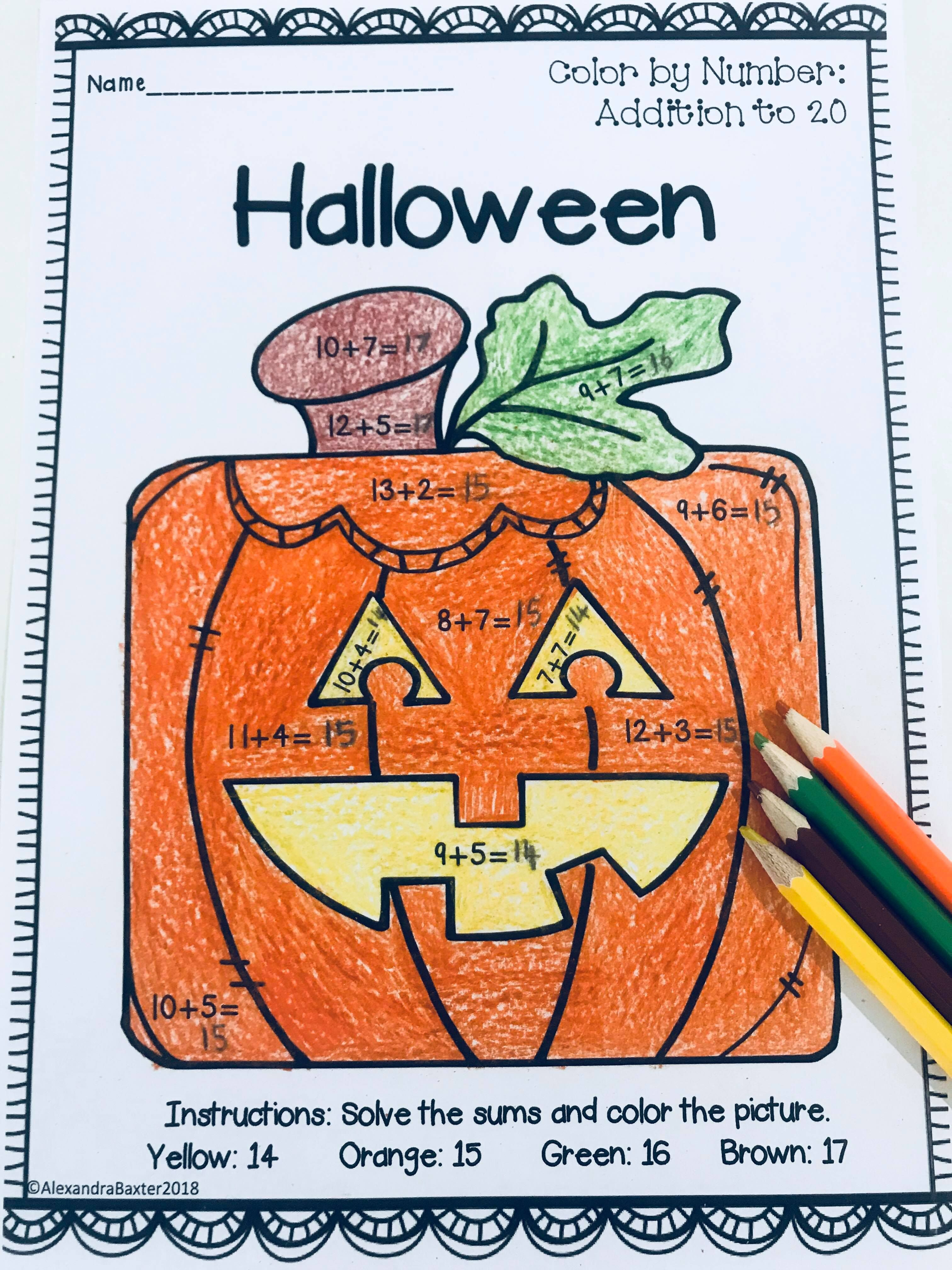 Halloween Pumpkin Color By Addition Worksheet Great For K 1st 2nd Or 3rd Grade Maths Lessons Cent Halloween Resources Literacy Printables Teaching Addition [ 4032 x 3024 Pixel ]