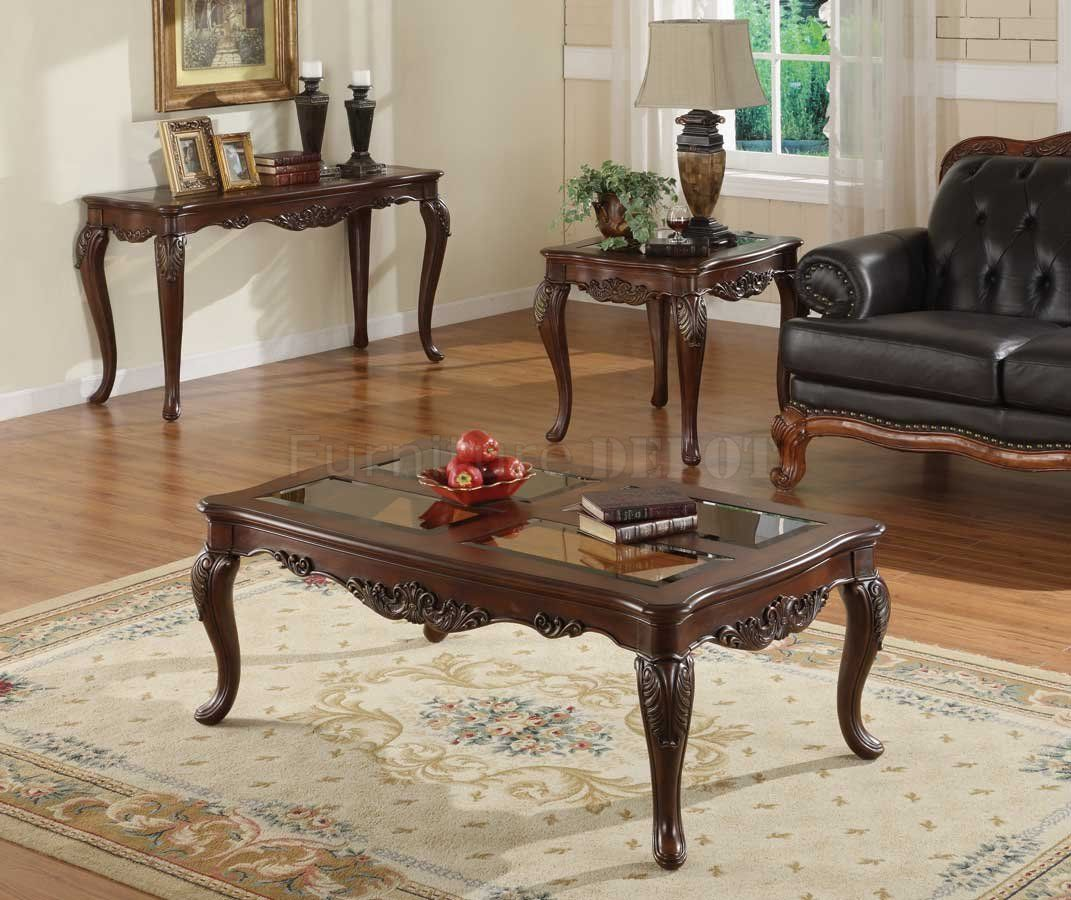- Warm Brown Cherry Finish Traditional Coffee Table W/Glass Insert