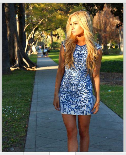 5eab0a5099e5 blue dress patterned pattern aztec print printed short graduation spring  tight lovely amazing blue white prom dress graduation dress dress bodycon  dress ...