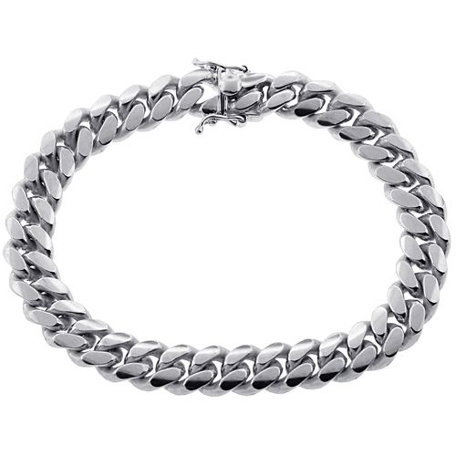 10k White Gold Miami Cuban Link Mens Bracelet 10 Mm 9 Inches In 2020 Mens Bracelet Silver Mens Gold Bracelets Bracelets For Men