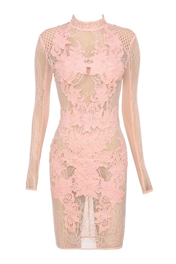 Clothing : Bodycon Dresses : \'Gialla\' Peach Mesh and Lace Long ...