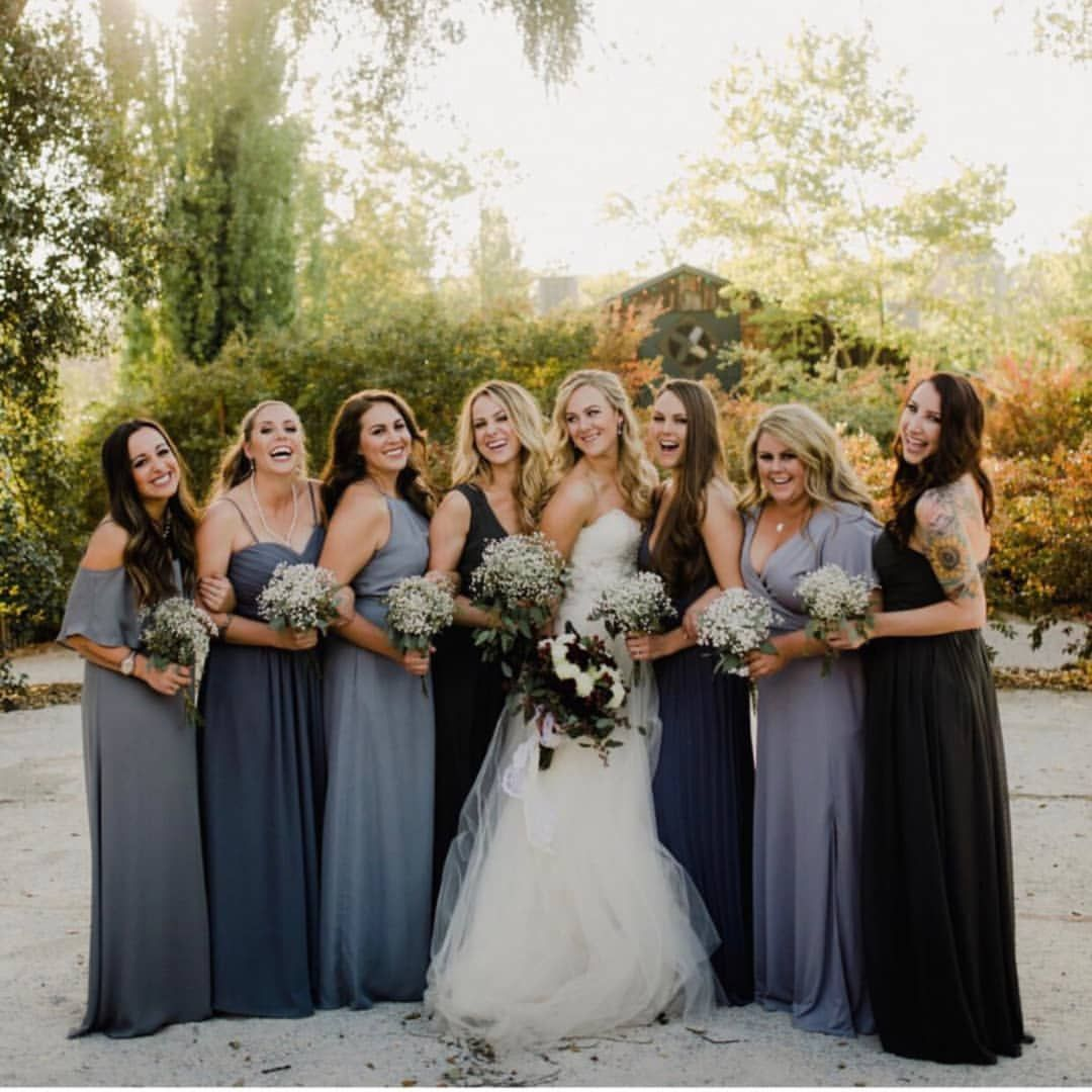 Moody And Stormy Shades Of Blue Shop These Hues Right Here Phot Blue Wedding Dresses Blue Bridesmaids Bridesmaid Dress Color Schemes