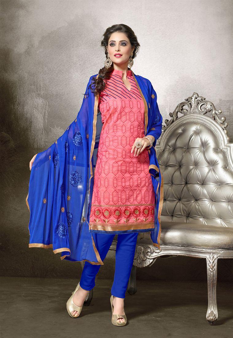 Peach #Color #Designer Chanderi Cotton Salwar #Suit