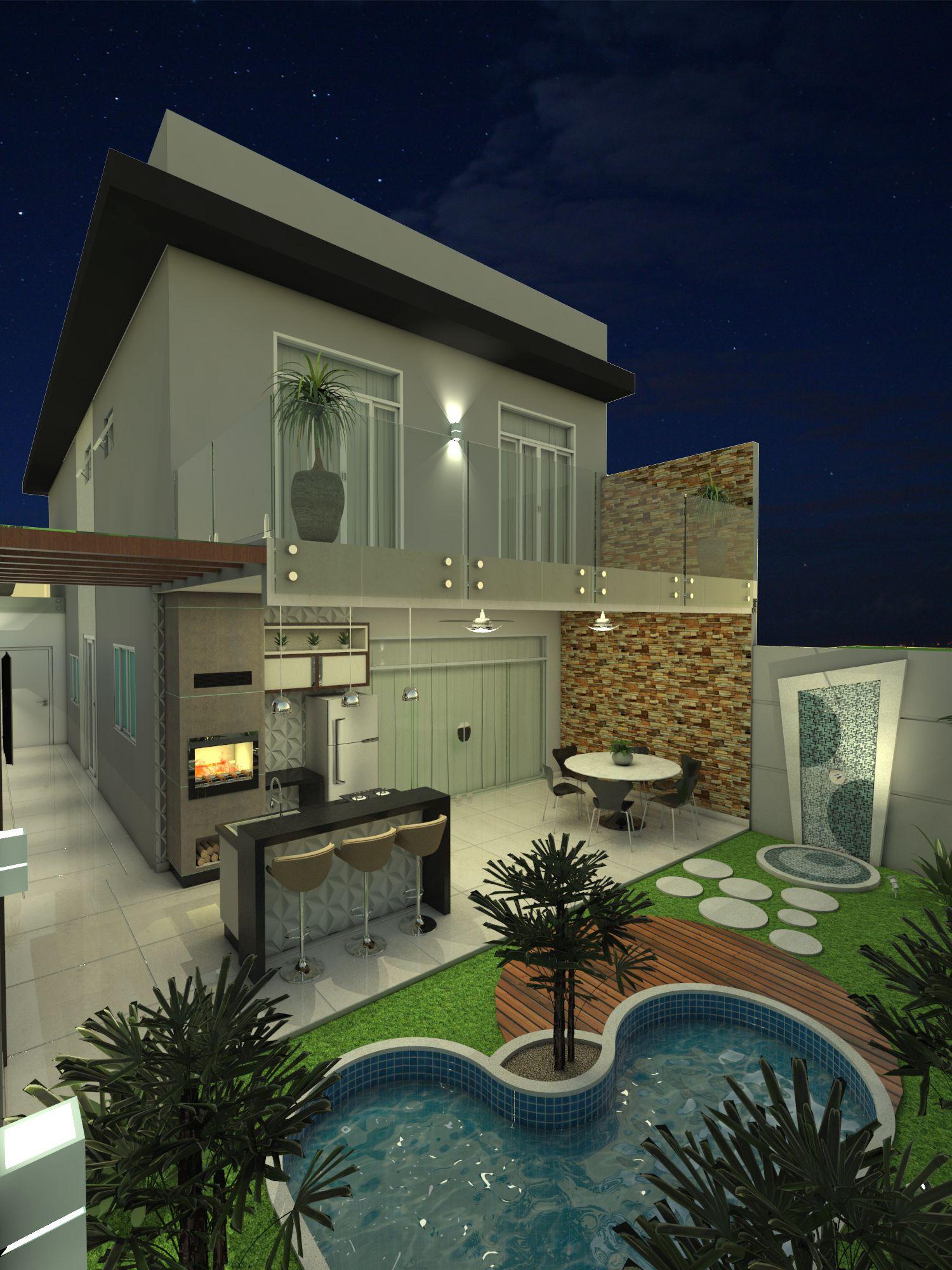 Ct 0009 projeto planta casa sobrado moderno 8x25 3 for Casa moderno kl