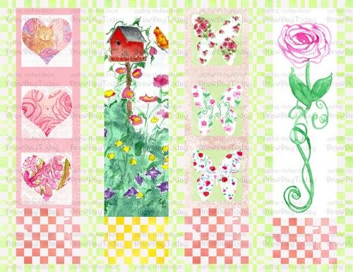 Printable Bookmarks PDF Watercolor Rose Flowers Red Birdhouse
