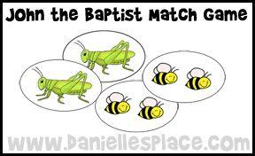 John the baptist match game from for John the baptist craft for kids