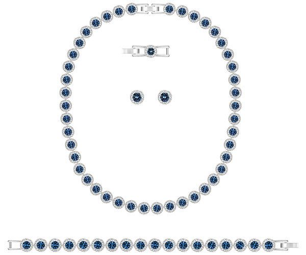 Angelic All Around Set Blue Swarovski Rhodium Plated Earings Piercings
