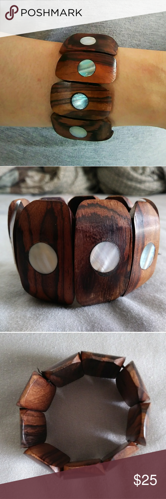 🆓 GIFT | Wooden Circle Shell Inlay Bracelet** ✨ OR $5 *FREE GIFT w/ any purchase! *To receive your gift, please add it to your bundle OR request it in a comment on the item that you are purchasing! American Eagle Outfitters Jewelry Bracelets