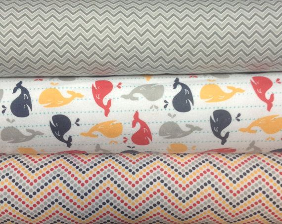 Riley+Blake+Flannel++Whales+&+Chevrons1/2+yard+by+FabricWhimsyToo