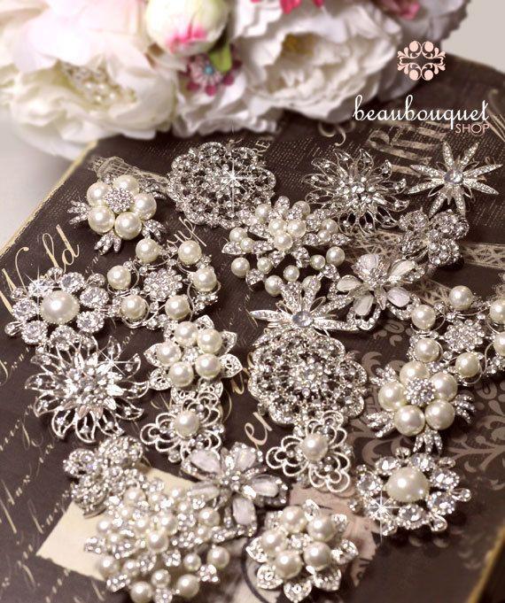 Diy Wedding Bouquets Ideas: Brooches For DIY Bridal Bouquet Rhinestone & Pearl By