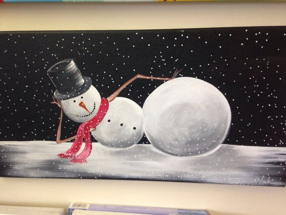 This Whimsical Snowman Is Painted With Acrylics On A 12x24 Canvas But I Could