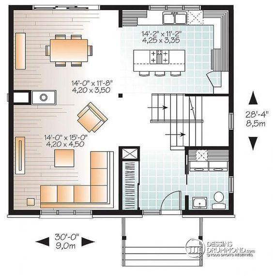 W3714 - Plan de maison à étage moderne et abordable, 3 chambres - plan de maison a etage moderne