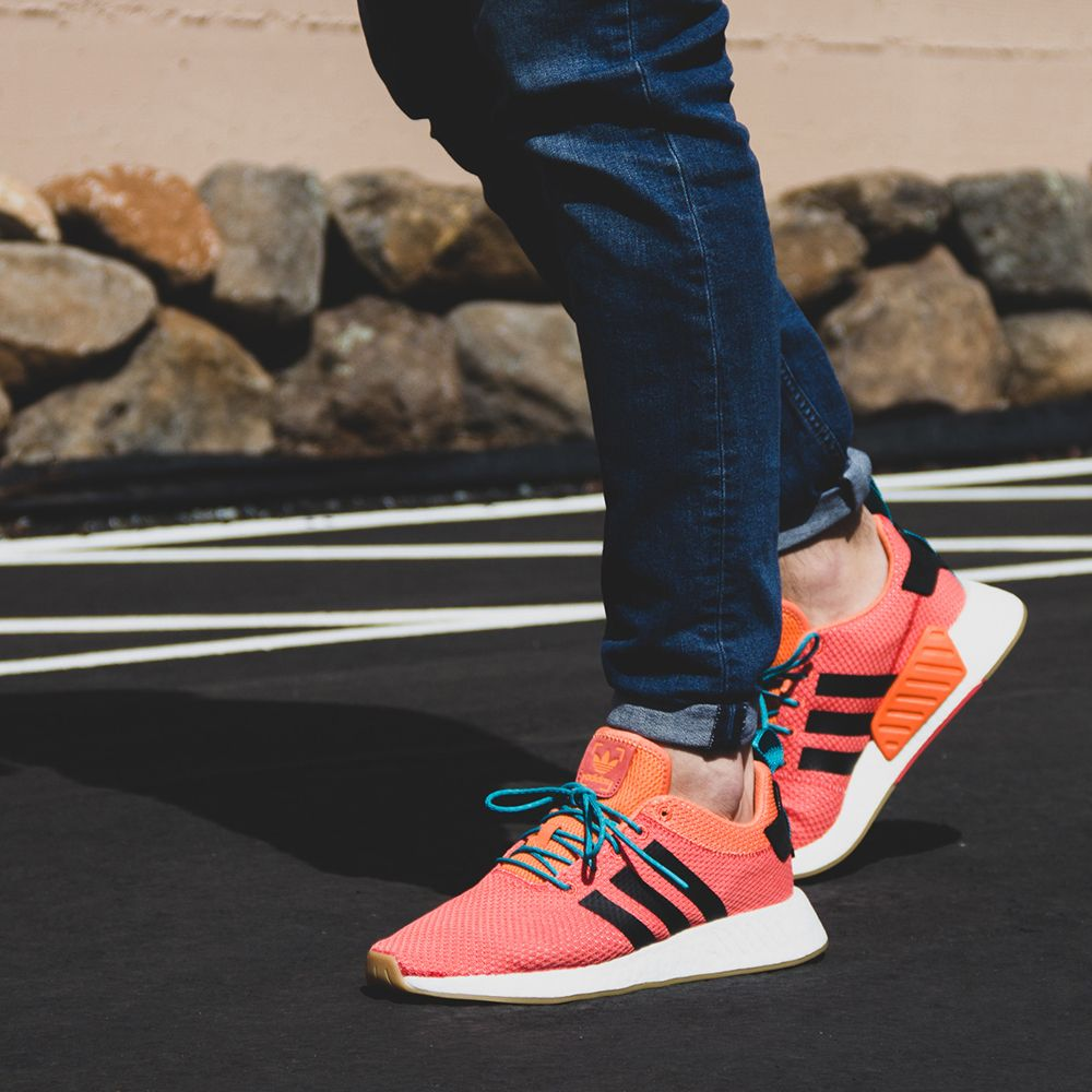 6e9ded413 Adidas NMD R2 Summer CQ3081 Men s Sneaker in Orange and White ...