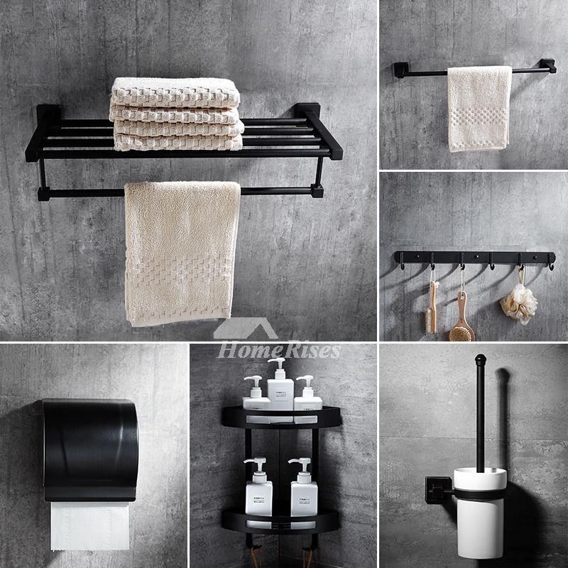 Black And Grey Bathroom Set 6 Piece Black Bathroom Accessories