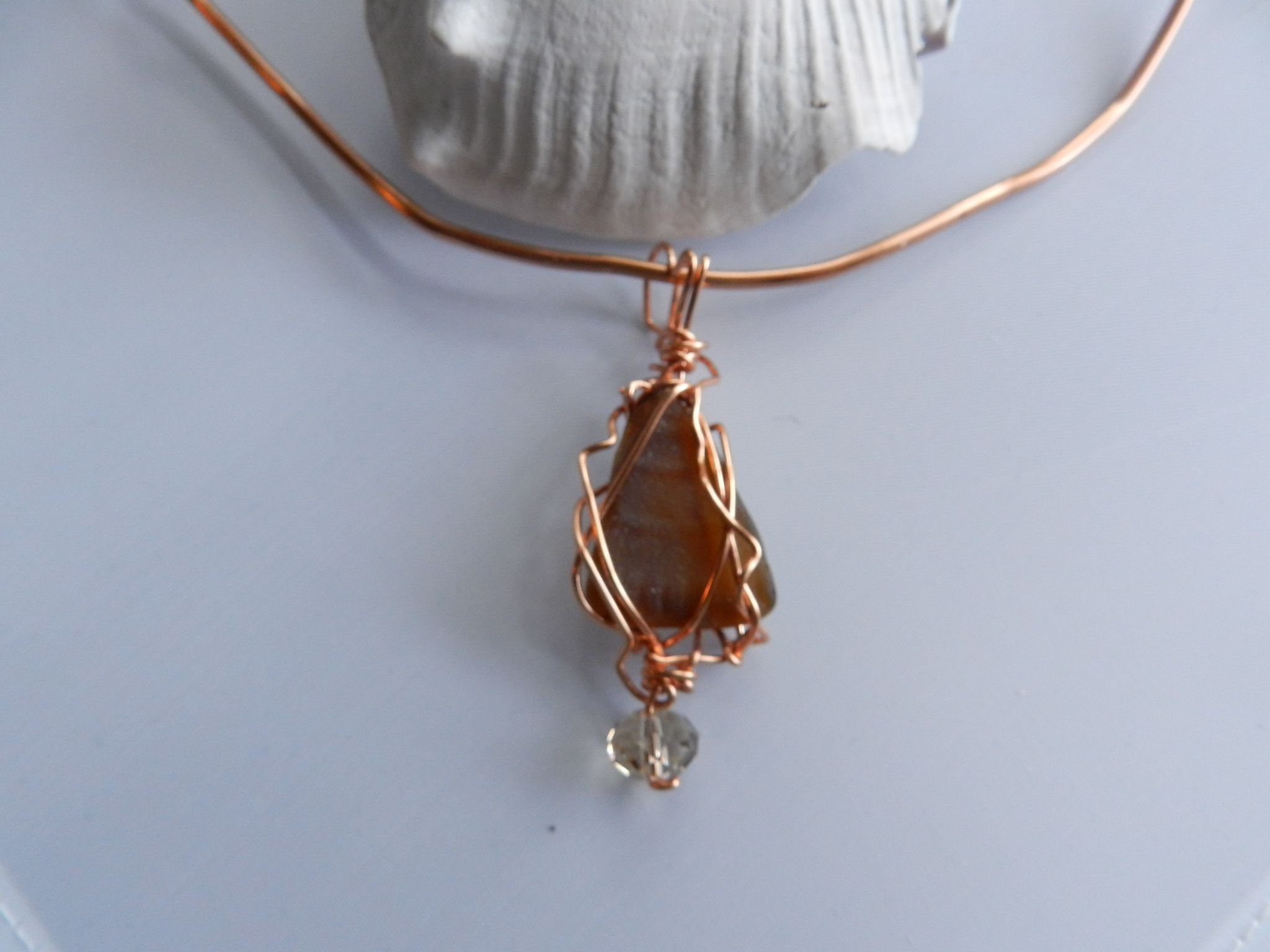 A handmade copper aluminum choker with a real copper wire wrapped ...